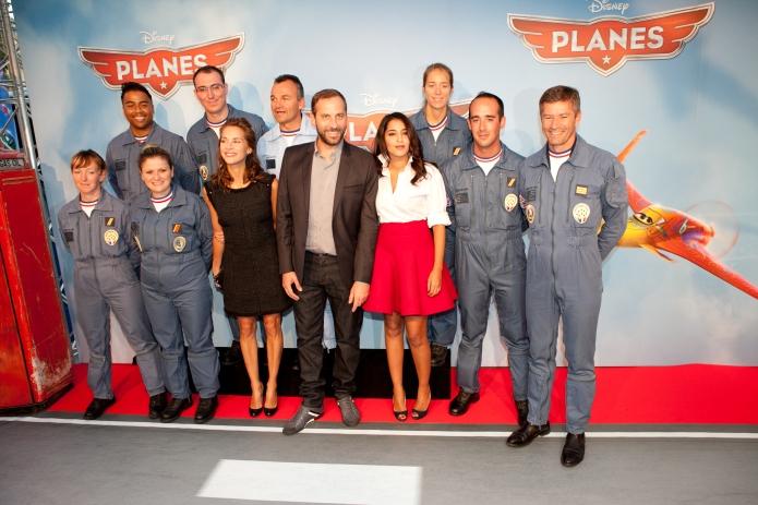 Avant première de PLANES, à Paris, en présence des voix françaises du film: Fred Testot, Leila Bekhti, Melissa Theuriau et la Patrouille de France.